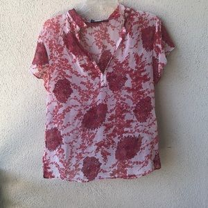 ZARA red floral top. Made in Turkey